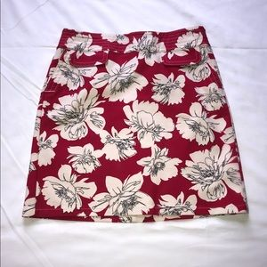 Ann Taylor red floral print skirt
